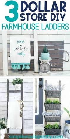 DIY Dollar Store Farmhouse Ladder is part of Dollar store diy - If you've seen those farmhouse ladders used for various home decor ideas, you probably know how much they cost in highend decor stores I got lucky and found a large antique ladder at a yard