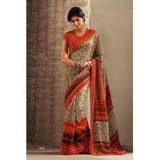 Cream Colour Designer Cotton Saree