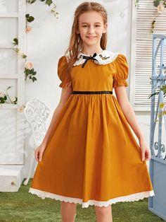 Dresses Kids Girl, Flower Girl Dresses, Baby Girl Fashion, Kids Fashion, Dress Anak, Peter Pan Collar Dress, Young Fashion, Mode Online, Girls Bows