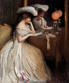 """The Letter, Arthur M. Hazard, 1903, oil on canvas, 29-5/8 x 24-7/8"", Brock & Co."