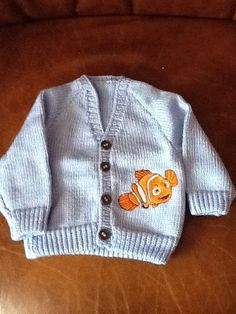 Blue knitted cardigan with Nemo embroidery by Happilyevercrafts, Knit Crochet, Embroidery, Knitting, Children, Sweaters, Handmade, Crafts, Blue, Etsy