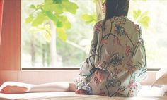 Lost in Kyoto Collection Limited edition  I don't know well about traditional kimono, so it's a morden style kimono, loosing fit, you can wear it at home or match with dress or with jeans, show your taste.  The fabric is very luxury and great touch feeling, The floral painting on it is 3D as...