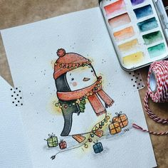 Likes, 12 Kommentare - ✏ ¸ . Christmas Drawing, Christmas Paintings, Christmas Art, Pinguin Drawing, Pinguin Illustration, Watercolor Cards, Cute Drawings, Cute Art, Painting & Drawing