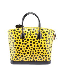 53ccced6ec Louis Vuitton Limited Edition Yayoi Kusama Lockit MM Infinity Dots Black    Yellow Patent Leather Shoulder