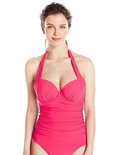 ab0a59bddbf3e Profile by Gottex Womens Tutti Frutti DCup Halter Tankini Azalea 32D ** You  can get