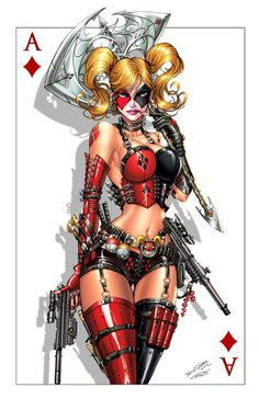 Harley Quinn + Deadpool Commission (colours) by jamietyndall.deviantart.com