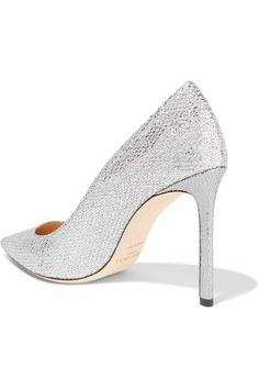 30ae5aed6141 Jimmy Choo - Romy Glittered Snake-effect Leather Pumps - Silver