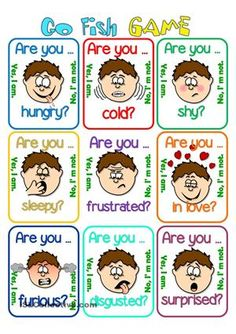 Go fish - Feelings - English ESL Worksheets for distance learning and physical classrooms English Games, English Activities, English Tips, English Words, English Lessons, Learn English, Ingles Kids, Esl Lessons, Feelings And Emotions