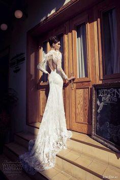 riki dalal #bridal 2014 #wedding dress illusion long sleeves keyhole back #weddingdress #weddings