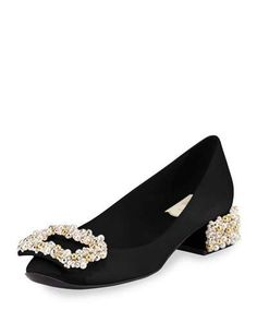 Pearly Buckle Satin Pump, Black