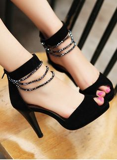Fashion Style Beads Embellished Fish Mouth High Heel