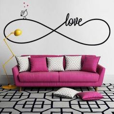 Vinilo Decorativo Sticker Love My New Room, My Room, Interior Design Living Room, Living Room Designs, Wall Stickers, Wall Decals, Wall Art Designs, Wall Drawing, Sofa Design
