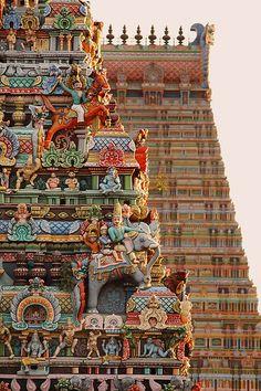 Detail of Sri Ranganathaswamy Temple, Tiruchirappally, Tamil Nadu, India.