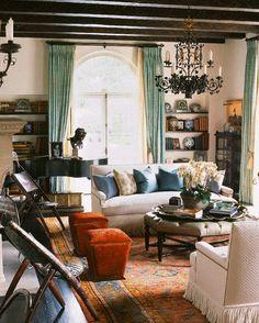 Warm family room by Joan Behnke, Montecito, Californiz