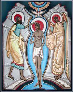 Holy Baptism contemporary icon by Mykola Rybenchuk of Lviv, Ukraine