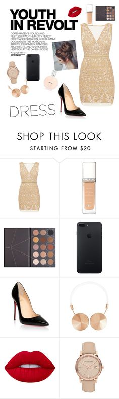 """Untitled #7"" by silviamachado20 ❤ liked on Polyvore featuring Nicole Miller, Hedi Slimane, Christian Dior, ZOEVA, Christian Louboutin, Frends, Lime Crime and Burberry"