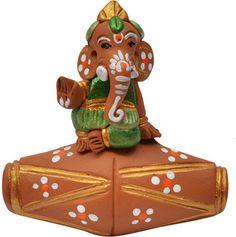 Exclusivelane hand painted dholak baby #Ganesha showpiece shop online from #craftshopsindia