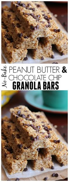 These Peanut Butter and Chocolate Chip Granola Bars are no bake and so incredible chewy and soft! Way better than store bought!