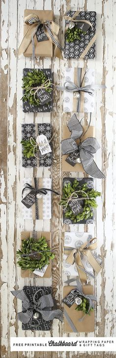 Free Printable Chalkboard Wrapping Paper and Gift Tags by Ella Claire. Gift Wrap Inspiration, Christmas Wrapping, Bows, Ribbon, String, Theme, Natural Gift Wrap, Chalkboard Gift Wrap, Black Gift Wrap, Kraft Paper. #giftswrappingbows