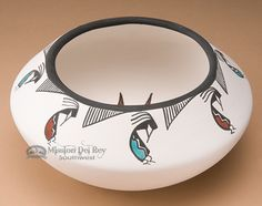 Tigua Indian Pueblo Pottery Bowl -Kokopelli 7""""