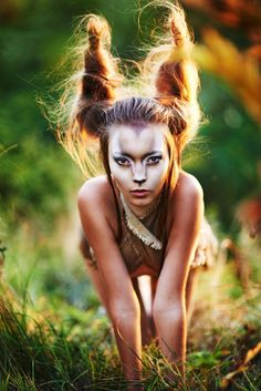 Gazelle costuming with hair horns and epic makeup