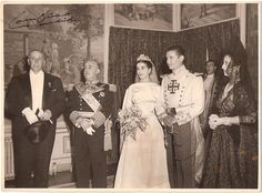 Wedding of Carmen Franco y Polo. Franco is wearing the Collars of the Orders of Charles III and The Most Holy Annunciation