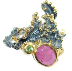 $57.55 Fine+Art+Genuine+Ruby++Peridot+Gold+plated+over+Sterling+Silver+ring;+s.+7+1/4 at www.SilverRushStyle.com #ring #handmade #jewelry #silver #ruby