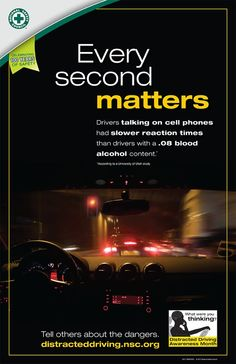 """Drivers talking on cell phones have slower reaction times than drivers with a blood alcohol content. Distracted Driving, Drunk Driving, Driving Safety, Driving Tips, Drive Safe Quotes, Teen Issues, Drivers Ed, National Safety, Alcohol Content"