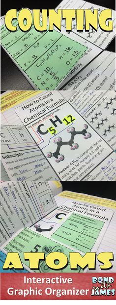 This is a FREE interactive graphic organizer over counting atoms in a chemical formula. Chemistry Classroom, High School Chemistry, Chemistry Lessons, Teaching Chemistry, Chemistry Labs, Science Chemistry, Middle School Science, Physical Science, Science Lessons