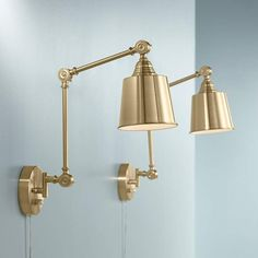 Set of 2 Mendes Antique Brass Down-Light Plug-In Wall Lamps - #23R80 | Lamps Plus