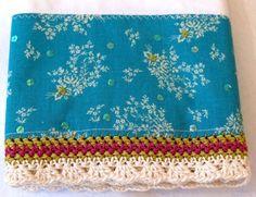 crochet pillowcase aqua detail