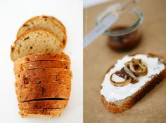 onion bread with ricotta, fig jam and caramellized balsamico onions