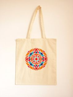 Kaleidoscope Cotton Bag/ Geometric Tote Bag/ Day Bag/ Printed Tote Bag/ Canvas Handbag/ Stencil Pattern/ Orange and Blue/ Fabric Bag