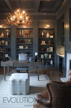 Gray paneled office in modern farmhouse office ideas for women from home office ideas home offices office ideas organization home offices office ideas layout Home Office Space, Home Office Decor, Home Decor, Office Ideas, Office Furniture, Office Setup, Office Spaces, Office Style, Furniture Ideas