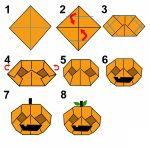 Here& how to make an Origami Halloween Diy Origami, Origami And Quilling, Origami Bird, Paper Crafts Origami, Origami Halloween, Halloween Crafts For Kids, Halloween Lanterns, Diy Halloween Decorations, Halloween Pumpkins