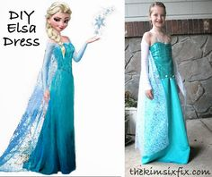 DIY Elsa Dress (From Frozen).. Modified a single A-Line dress pattern.. The sleeves are made from footless tights!