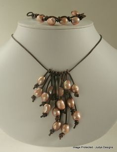 Peach pearl leather necklace cascade style by JudysDesigns on Etsy, $40.00