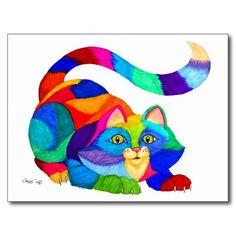 Frisky cat post cards
