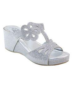 Look what I found on #zulily! Silver Sparkle Flower Wedge Sandal #zulilyfinds