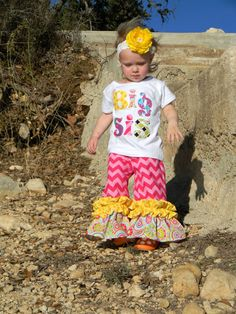 Big Sister shirt and Double Ruffle Pant Set…You Pick Fabric Choices, Also Lil Sis, Mid Sis-0-3m to 8 years on Etsy, $42.50