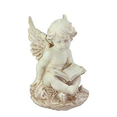 Felices Pascuas Collection 12 inch Heavenly Gardens Distressed Ivory Sitting Cherub Angel with Book Outdoor Patio Garden Statue