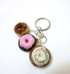 Needle felted donut key chain - For those who can't leave chocolate and cakes alone!