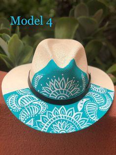 Painted Hats, Hand Painted, Summer Hats, Llamas, Custom Dresses, Fabric Painting, Sun Hats, Hats For Women, Cowboy Hats