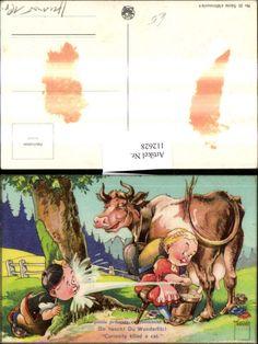 Künstler Ak Scherz Humor Mädchen melkt Kuh Milch i. Gesicht v. Bub Spruch Nr…