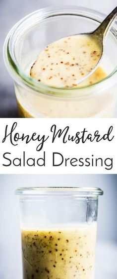 This Honey Mustard Salad Dressing is SO creamy, you won't believe it's actually made with healthy ingredients! This is the best homemade salad dressing when you need some comfort food. Prep a large batch and keep in the fridge so you can easily dress your salads all week long! | #dressing #salad #saladdressing #homemade #lunch #easyrecipes #recipe #healthy #healthyrecipes #healthyfood #healthyeating #cleaneating #lunchideas #yum #yummyfood