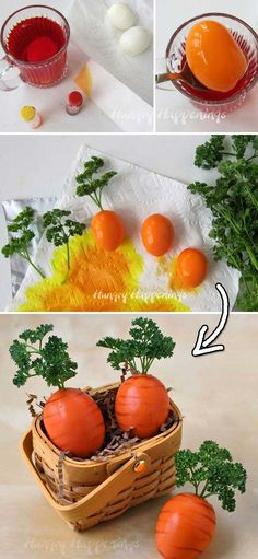24. Turn boiled eggs into fun Carrots for Easter --- DIY Easter Eggs Tutorials