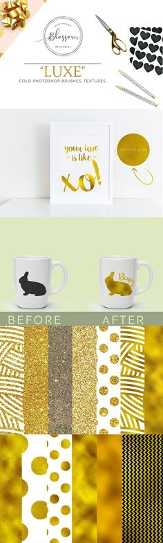 Give your text and logos a Flaky, Shimmering, Gold Foil Effect Instantly, without all the hassle with these textures! These textures look great on everything! Gold Leaf, Gold Foil, Chevron Patterns, Photoshop Brushes, Print Design, Banner, Leaves, Texture, Logos