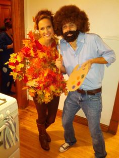 halloween costumes - Bob Ross and his little happy tree!!
