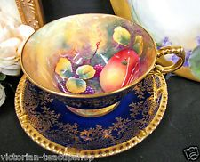 PARAGON TEA CUP AND SAUCER COBALT BLUE ARTIST SIGNED PAINTED FRUITS TEACUP GOLD