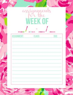 Lauren Ashleigh: Free Printable: Assignment Tracker in First Impression